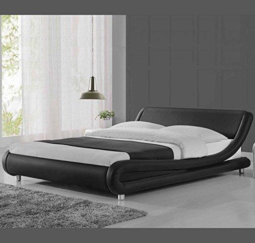 muebles bonitos Cama Individual de Polipiel Moderna Alessia para colchón de 90 x 190 cm Negro somier de Laminas Incluido: Amazon.es: Hogar