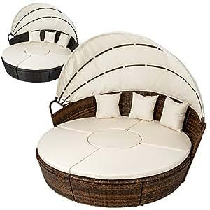 TecTake Conjunto de sillones con un techo isla para tomar el sol de ALUMINIO y ratán sintético - disponible en diferentes colores - (Marrón | No. 401112)
