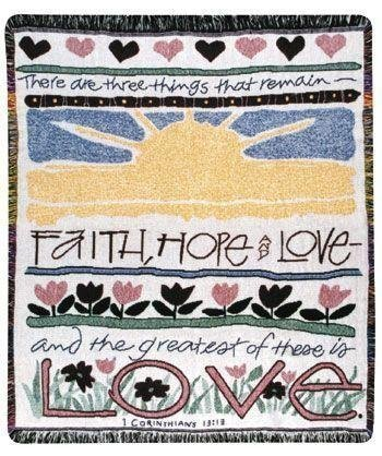 Simply Home Woven Faith Hope Love Inspirational Tapestry Blanket Throw SKU 2092