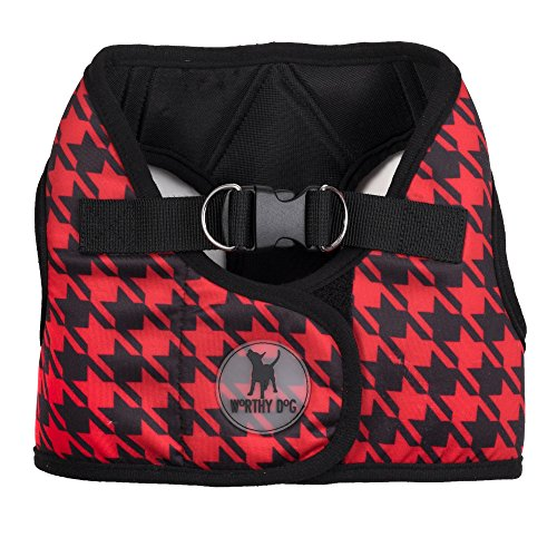 The Worthy Dog Printed Sidekick Houndstooth Harness, Red/Black, XXS
