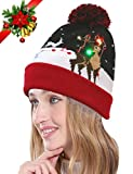 Youniker LED Light Up Hat Beanie Knit Cap,6 Colorful LED Lights Hat Xmas for Womens Christmas Hat Beanie for Girls Men Holiday Hat Party Christmas Gifts