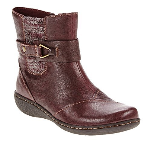 Clarks Women's Fianna Adley Ankle Boot,Aubergine Goat Corrected Full Grain Leath Size 6
