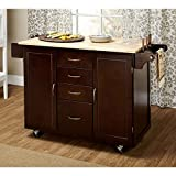 Contemporary Kitchen Island Contemporary Country Style Mobile Kitchen Island Rolling Cart Wooden Frame 4-Storage Drawers and 2-Cabinets with Adjustable Shelf  Towel Rack, Espresso Finish - Includes Modhaus Living Pen