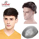 Lordhair Toupee Skin Men's Toupee Human Hair Pieces for Men Natural Hair Replacement Darkest Brown Color 1B (6 Colors Available)