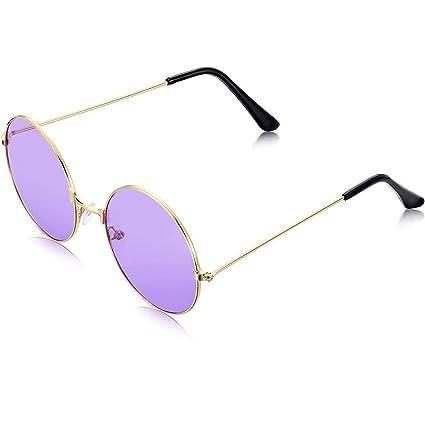 Schimer - Gafas de sol estilo hippie para hombre, estilo retro, con marco de aleación morado morado