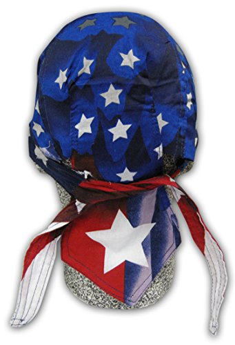 Deluxe Skull Cap (Red White Blue USA American Flag with Sweatband Headwrap Durag)