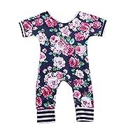 Toddler Baby Girls Short Sleeve Flowers Print Striped Romper Full Floral Bodysuit (60(0-6M), Navy Blue)