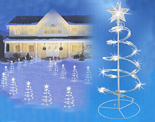 NorthLight 18 in. Clear Lighted Outdoor Spiral Walkway Christmas Trees Yard Art, Set Of 3 (Christmas Walkway Trees)