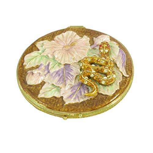Floral Design Compact Mirror - Red Topaz Snake On Floral Design Enameled Compact Mirror With Swarovski Elements Crystals