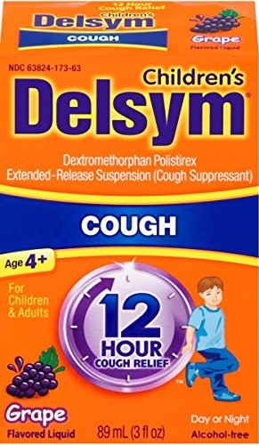 Delsym Children's Cough Suppressant Liquid, Grape Flavor, 3 Ounce (Pack of 12)