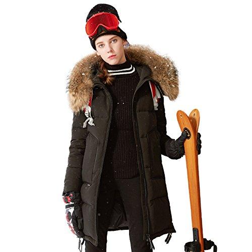 Deep Winter Parka - BOSIDENG Women's Harsh Deep Winter Goose Down Coat Long Real Fur Thicken Parka Chilly Resist -30℃ Down Jacket(165/88A 8056)