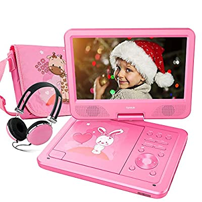 FUNAVO Portable DVD Player with Headphone, Carring Case, Swivel Screen, 5 Hours Rechargeable Battery, SD Card Slot and USB Port