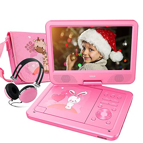 FUNAVO 10.5 Portable DVD Player with Headphone, Carring Case, Swivel Screen, 5 Hours Rechargeable Battery, SD Card Slot and USB Port  (Pink)