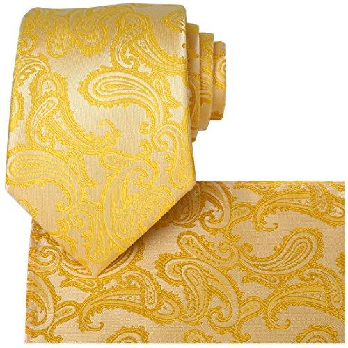 Yellow Mens Tie - KissTies Yellow Tie Set Wedding Ties Paisley Necktie + Pocket Square