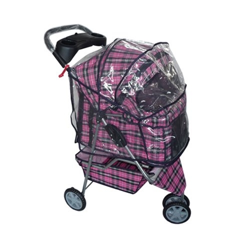 BestPet Pet Stroller Cat Dog 3 Wheel Walk Travel Folding Carrier W/Rain Cover Pink Plaid