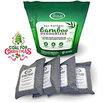 All Prime - 4 Pack 500g Bags - Bamboo Charcoal Air Purifying Bags - Charcoal Air Purifying Bags - All-Natural Odor Eliminator - Charcoal Deodorizer - Activated Charcoal Odor Absorber - Eco-Friendly