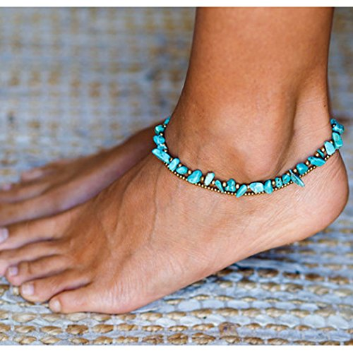 Simsly Boho Stone Anklet with Turquoise Beach Ankle Bracelets Beaded Chain For Women and Girls JL-0149 (Blue) - Turquoise Ankle Bracelet Anklet
