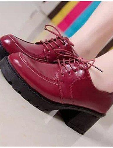 Similicuir Chaussures 5 Uk5 Bout 2016 Décontracté Femme Cn38 Noir Rose Rouge Arrondi Red Eu38 5 Njx Talon Richelieu Gros us7 q7FUw5U