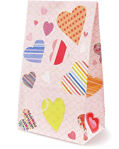 (Juvale 24-Pack Cute Heart Pattern Paper Gift Bags for Valentines Day, Kids Party Favors, Goodies, and Treats, 5 x 8.7 x 3 Inches)