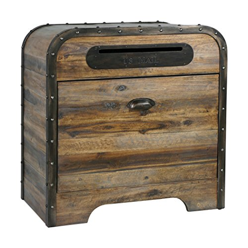 MY SWANKY HOME Riveted Wood US Mail Box Accent Table | Retro Industrial Bin Drawer Americana