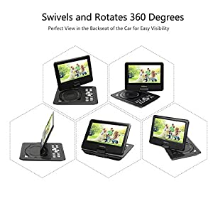 "COOAU 11.5"" Portable DVD Player with 9.5"" Swivel Screen, 5 Hour Rechargeable Battery, Support USB/SD Card, Direct Play in Formats AVI/RMVB/MP3/JPEG, Black"