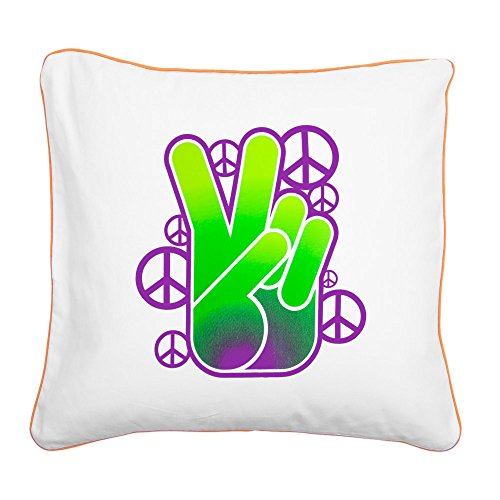 (Square Canvas Throw Pillow Orange Peace Symbol Sign Neon Hand)