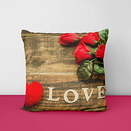 51SLArbRpAL Roses Love Heart Word Square Design Printed Cushion Cover