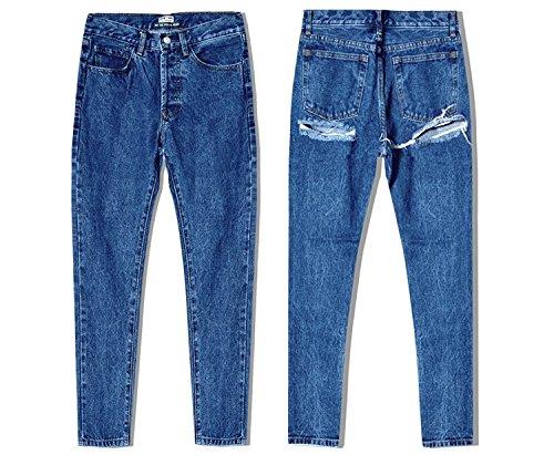 Blue À Trouée Femmes Les Denim Pantalon Hip En Haute Sexy Trend Line Mxnet Poitrine Denim Super Pour Shoots Taille Street Slim RqSx4pF
