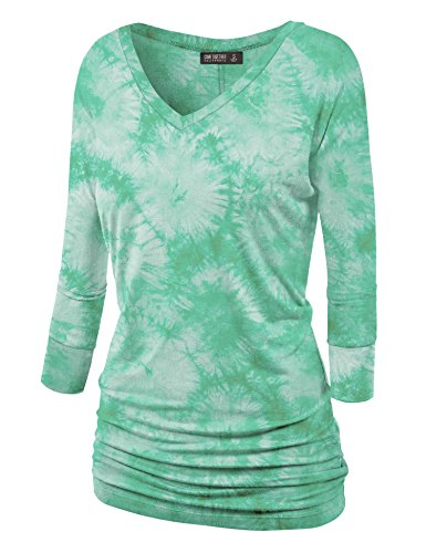 Lock and Love WT1112 Womens V Neck 3/4 Sleeve Tie Dye Drape Dolman Top with Side Shirring XL Jade