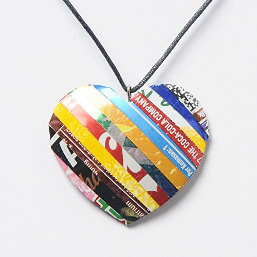 Heart necklace made from soda can - FREE SHIPPING - reclaimed salvaged unique handmade coke coca cola creations upcycled upcycle up-cycled recycled lovely gorgeous smart person vegetarians beautiful ()
