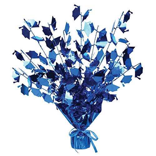 Club Pack of 12 Blue Foil Spray Graduate Cap Gleam 'N Burst Centerpieces 15''