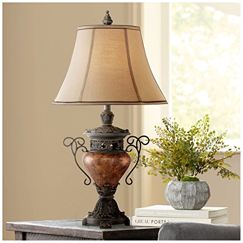 Traditional Table Lamp Bronze Crackle Urn Faux Silk Bell Shade for Living Room Family Bedroom Bedside Nightstand - Regency Hill (Bedside Gothic Table)
