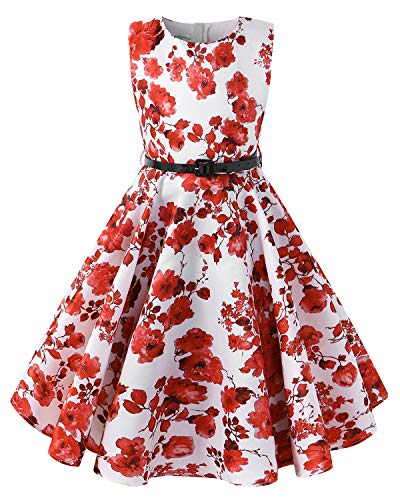 Kidsform Girls Summer Dress Floral 1950 Vintage Party Rockabilly Swing Dresses Casual Sleeveless A-Line Sundress Orange -