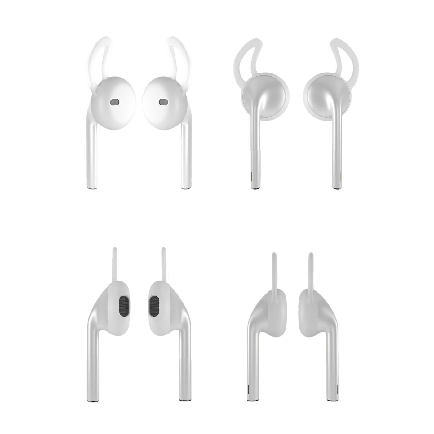 Silicone Earpod Cover Airpods Cover Transparent Soft Anti-Slip Earphone Cover for iPhone 7//7Plus//6//6Plus//5//5SE 2 Pair