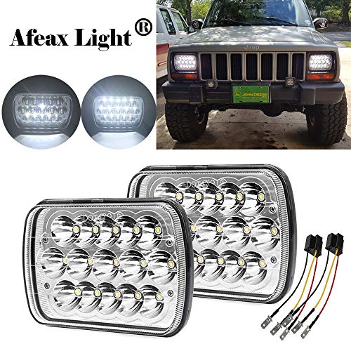 2Pcs 60W Philips Chips 5x7 inch Led Headlights H6054 Rectangle 6x7 Led Headlamp Hi/Low Led Sealed Beam H4 Plug 6054 Headlights H5054 6052 For Jeep Wrangler YJ XJ Cherokee Truck