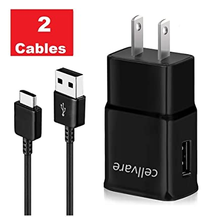 Cellvare Fast AFC Wall Charger Compatible with Galaxy S10, S9, S8 Note 8 includes 2 Type C / USB-C Cables, Black