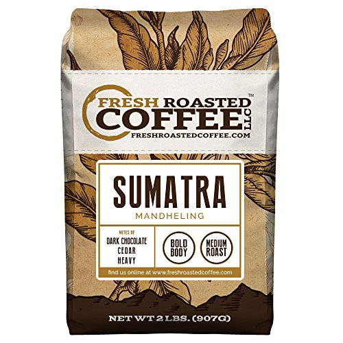 Sumatra Mandheling Coffee, Whole Bean Bag, Fresh Roasted Coffee LLC. (2 LB.)