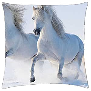 White Horses - Throw Pillow Cover Case (18