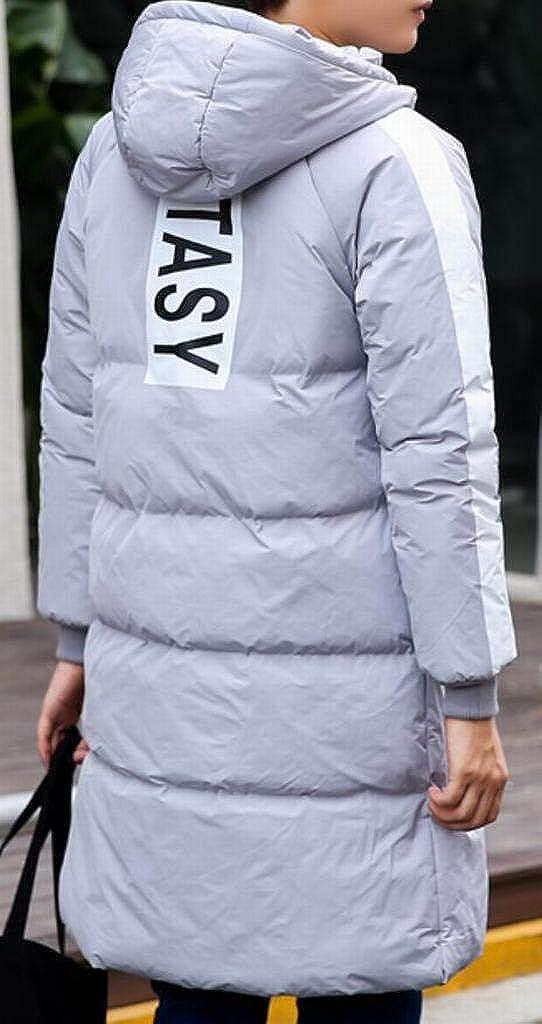 DFBB Mens Zip Front Winter Striped Cotton Couples Dress Hooded Plus Size Down Parka