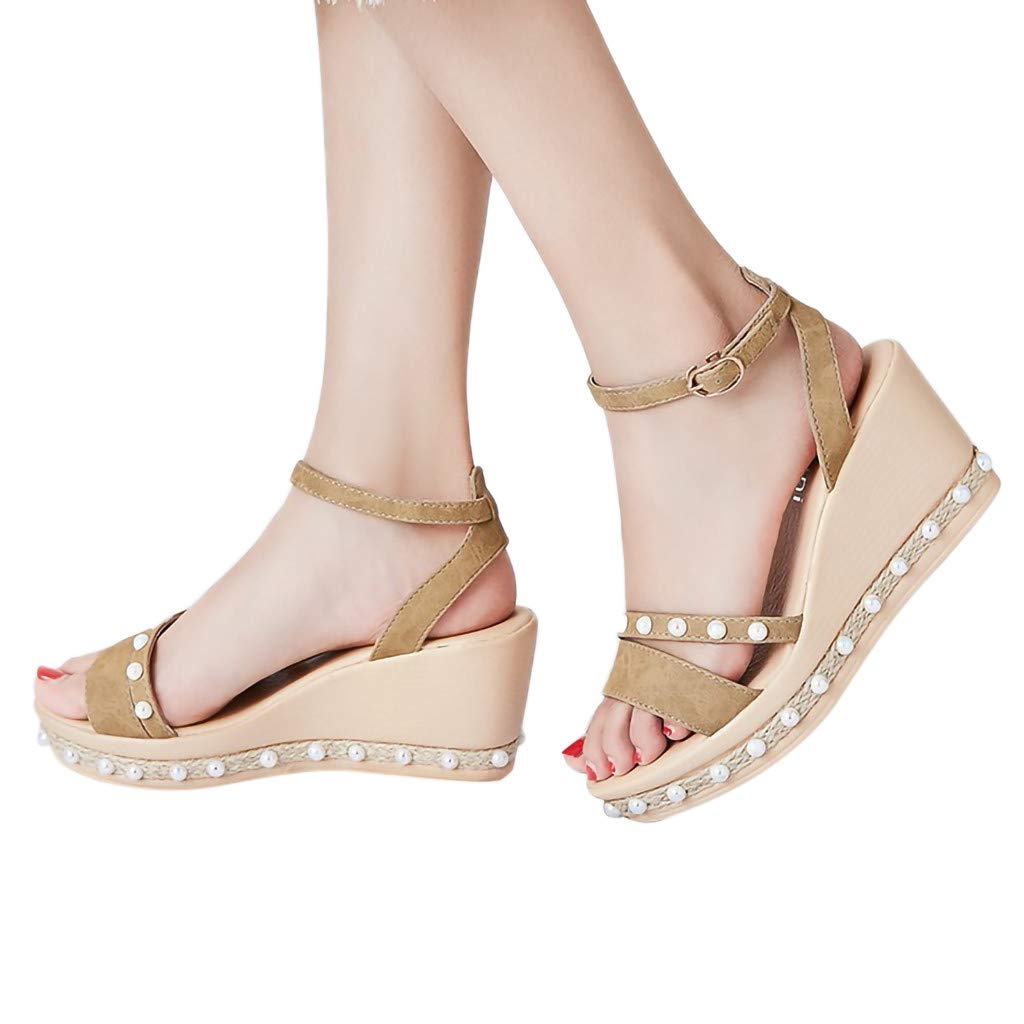 Orangeskycn Women Sandals Retro Wedge Party Shoes Pearl Weaving Thick Bottom Belt Buckle Roman Casual Beach Sandals