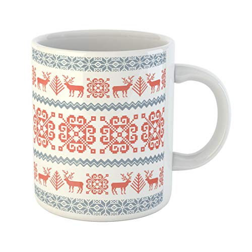 Semtomn Funny Coffee Mug Red Traditional Knitted Christmas Pattern Reindeer Tree and Nordic 11 Oz Ceramic Coffee Mugs Tea Cup Best Gift Or Souvenir ()