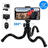 (Upgraded Version) Universal Camera Tripod, Outdoor Travel GoPro Tripod with Bluetooth Remote, Flexible Wrappable Smartphone Mini Stand for iPhone X/Xs/Xs Max/8, Samsung S9+/S9/S8, DSLR Camera, etc.