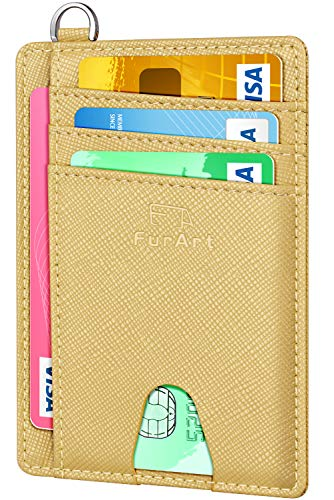 FurArt Slim Minimalist Wallet, Front Pocket Wallets, RFID Blocking, Credit Card Holder with Disassembly - Ring Id Key Leather