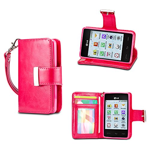 IZENGATE LG 840G Wallet Case - Executive Premium PU Leather Flip Cover Folio with Stand (Deep Rose Pink)