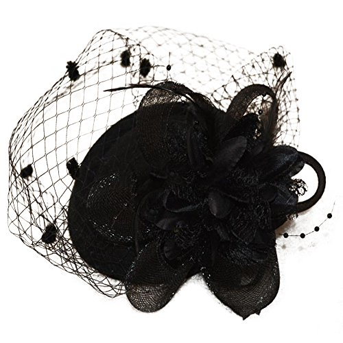 Feather Mesh Net, Fascinating Hair Clip Hat Bowler Veil Wedding Party Hat for Ladies(Black) -
