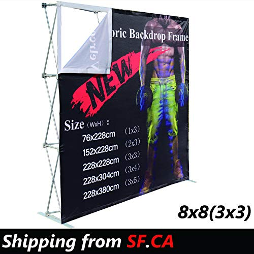(8x8ft (3x3), Velcro Tension Fabric Backdrop Booth Frame Straight Pop Up Display Stand (ONLY Hardware))