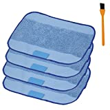roomba 4200 - 4-pack Wet Microfiber Mopping Cloths Washable&Reusable Mop Pads And 1pcs Free Cleaning Brush , Hongfa Replacement for iRobot Braava 380 380t 320 321 Mint 4200 4205 5200 5200C Robot