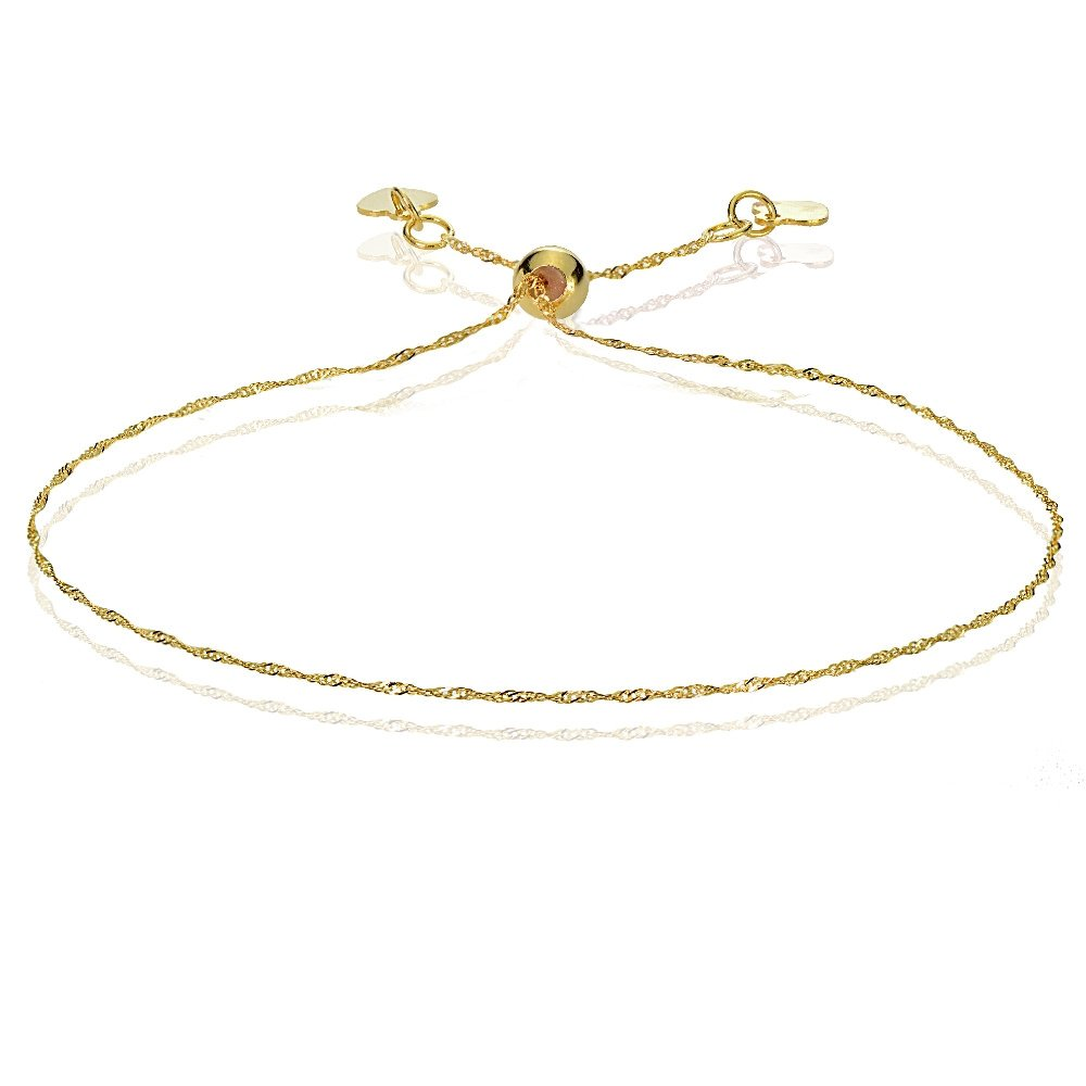 Bria Lou 14k Yellow Gold .9mm Italian Singapore Adjustable Chain Bracelet, 7-9 Inches