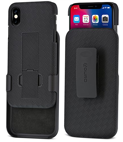iPhone X Holster Case, Aduro COMBO Shell & Holster Case – Super Slim Shell Case with Built-In Kickstand, Swivel Belt Clip Holster for Apple iPhone X / iPhone 10 (2017) (Black)