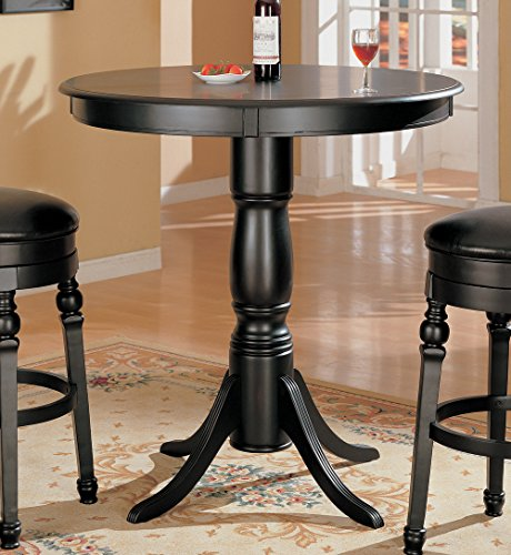 Coaster Home Furnishings 100278 Lathrop Classic Round Bar Table with Pedestal Base, Black